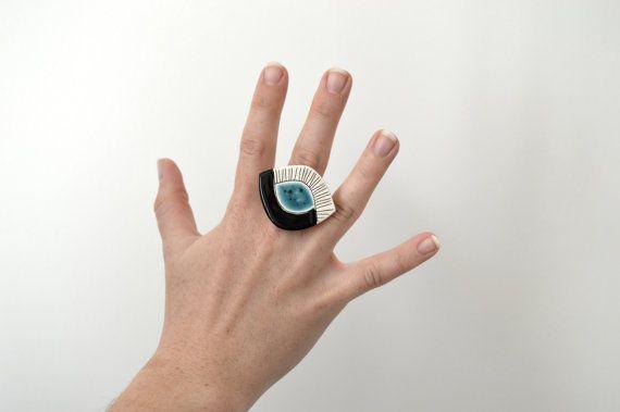 Keramik-Anweisung Ring in Form eines Auge handgemachte von islaclay
