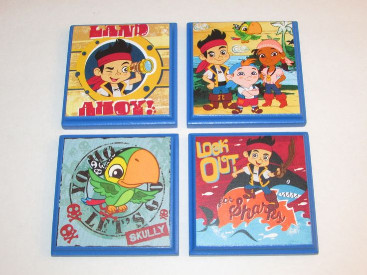 Jake and the Neverland Pirates Room Wall Plaques - Set of 4 Pirate Jake Boys Room Decor - Pirate Room Sign by JustForYou22 on Etsy https://www.etsy.com/listing/199822908/jake-and-the-neverland-pirates-room-wall