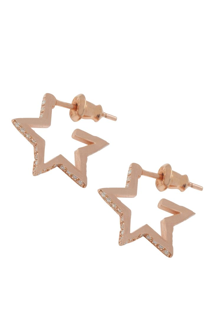 Crystal Star Hoops Rose Gold