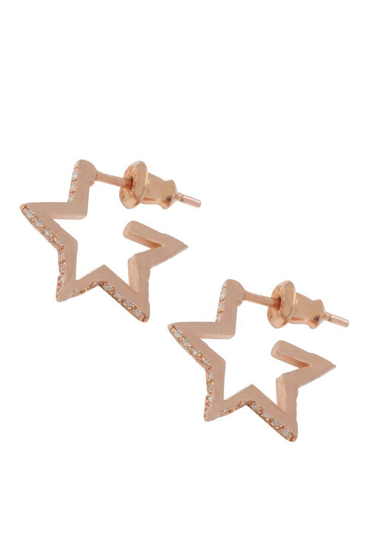 Crystal Star Hoops Rose Gold