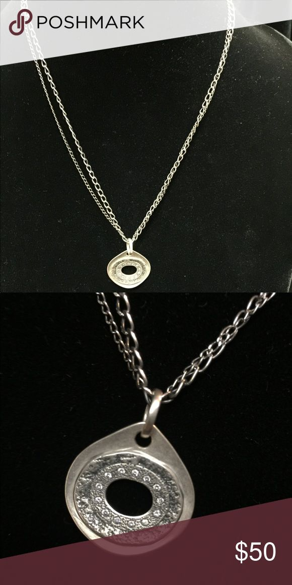 silpada Designs Sterling Silver Necklace Sterling Silver Double Stranded, with cubic zirconia on pendant. 18 inches long with a 2 in extender and lobster clasp. Silpada Jewelry Necklaces