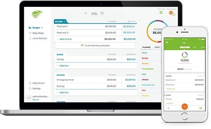 Create and update your budget from your computer and phone. Track and split transactions against your budget. View what's planned, spent and remaining. Monitor your progress through Dave's Baby Steps.