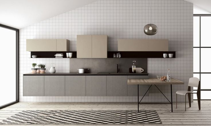 """Fjord is a modern and colorful modular kitchen which leaves a wide freedom of expression: de-structured, classic version, built-up with compact size, colorful, industrial, minimalist or Sixties / Seventies. Its anti-conformist soul helps a scheme-free composition by using practical and light """"C""""-shaped open shelves in painted metal to be placed at your ease and freestanding elements with metal pipe structure, which are multifunctional and easy to place and move. www.doimocucine.it"""