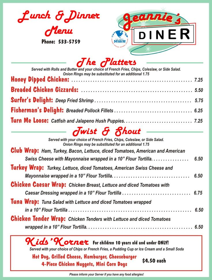Diner menus from the s and fort huachuca