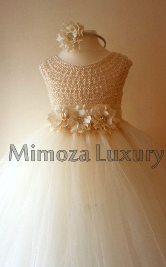 Ivory Flower girl dress ivory tutu dress by MimozaLuxury on Etsy