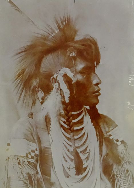 Assiniboine Warrior, a Sioux Subgroup, by H.T. Marsh (ca. 1890). (Antique photo of Native American)