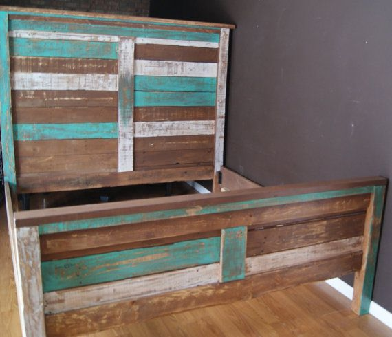 Shabby Chic Reclaimed King Bed Set.  Rustic Headboard, Foot Board, and rails.  Reclaimed King Bed distressed with teal and white
