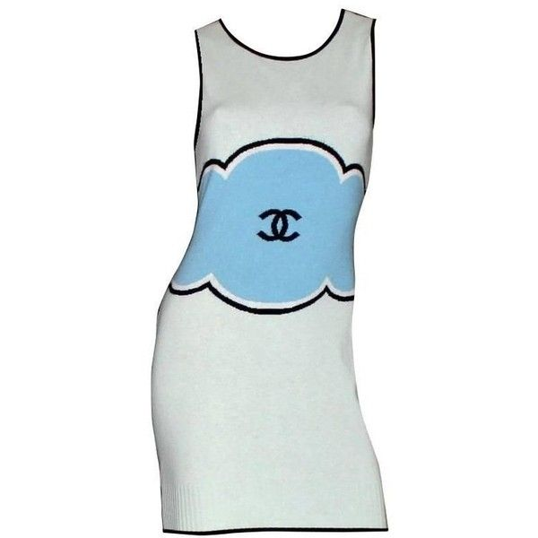 Preowned Classy Chanel Signature Cc Logo Enblem Cashmere Dress ($2,899) ❤ liked on Polyvore featuring dresses, blue, mini dresses, short blue dress, preowned dresses, short dresses, blue slip and cashmere dress