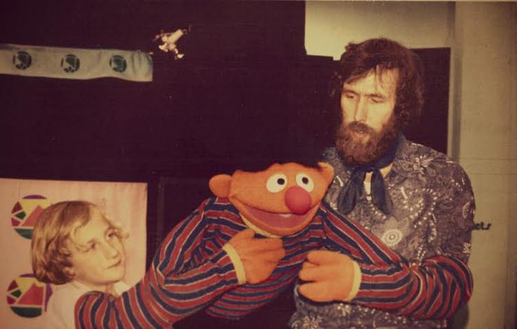 Jim Henson and his son Brian Henson with Ernie.