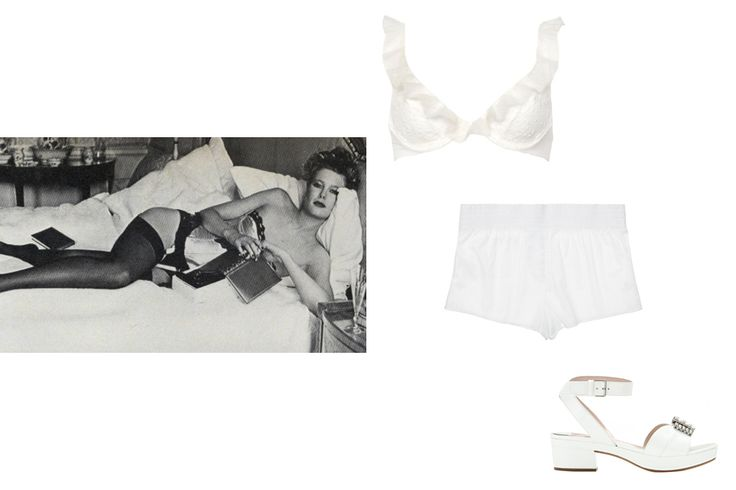 Chantal Thomass ruffled plumetis tulle underwire bra, $168; luisaviaroma.com; Morgan Lane Babington Corey shorts, $118; journelle.com; Miu Miu embellished patent-leather sandals, $750; mytheresa.com - Photo: (clockwise from top left) Denis Piel, Vogue, October 1982; Courtesy of luisaviaroma.com; Courtesy of Journelle; Courtesy of mytheresa.com