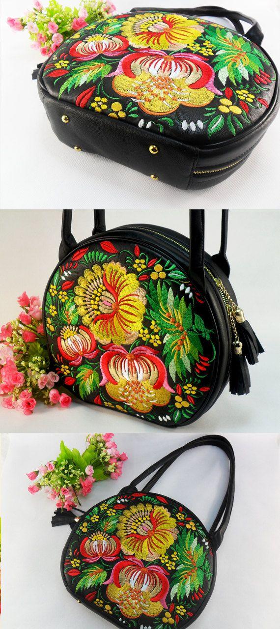 Leather embroidered bag  Black Leather Bag Shoulder bag Women's leather handbag Floral design Leather tote bag Large embroidered purse