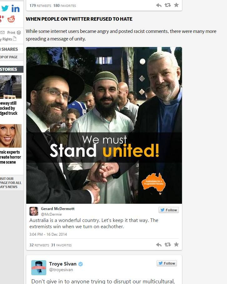 I'm not a big fan of news sites trawling Twitter for content. Unless it is me that appears. Then I like it. :) Source: http://www.perthnow.com.au/lifestyle/five-moments-when-aussies-shouted-down-racism/story-fnixw28d-1227159693738?nk=0e7c8a18fe84a752e2335a1d37c15204