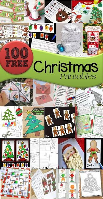 FREE Christmas Printables - over 100 free printables arranged easily by type: Christmas games, Christmas math, Christmas language arts, Christmas coloring sheets, Christmas Preschool and more for toddler, prek, kindergarten, first grade, 2nd grade, 3rd grade, 4th grade, and 5th grade students (homeschool, holiday centers, and more)