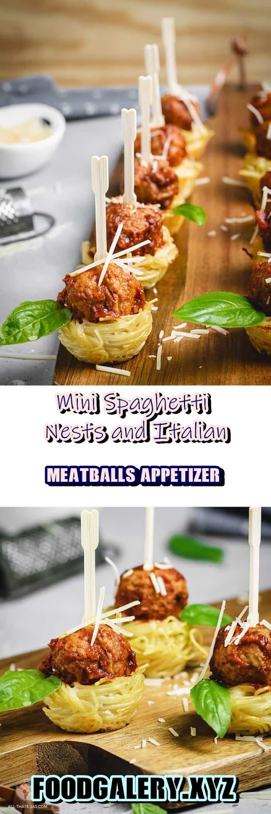 MINI SPAGHETTI NESTS AND ITALIAN MEATBALLS APPETIZER