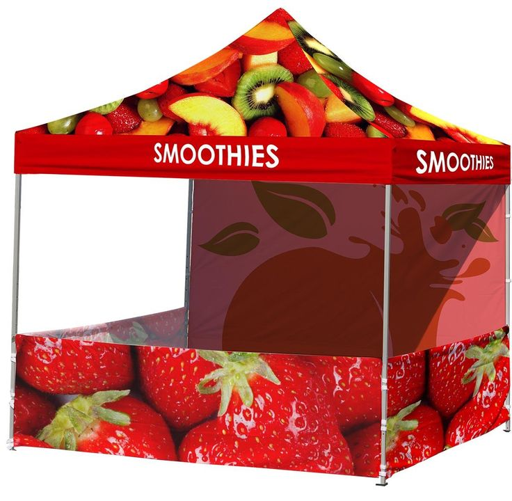 Custom Event Tent   Corporate 10x10 Canopy with (3) Half Wall Printing