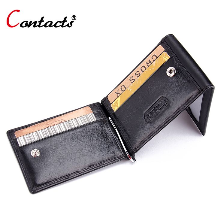 CONTACT'S Genuine leather Men wallet money clips bag card pocket clamp for money zipper coin pocket wallet with card ID Case #Affiliate
