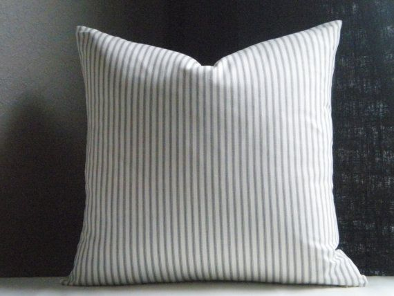Ticking Stripe Pillow Cover Grey And White 20 X 20 By Micablue 25 00 For The Home Ticking