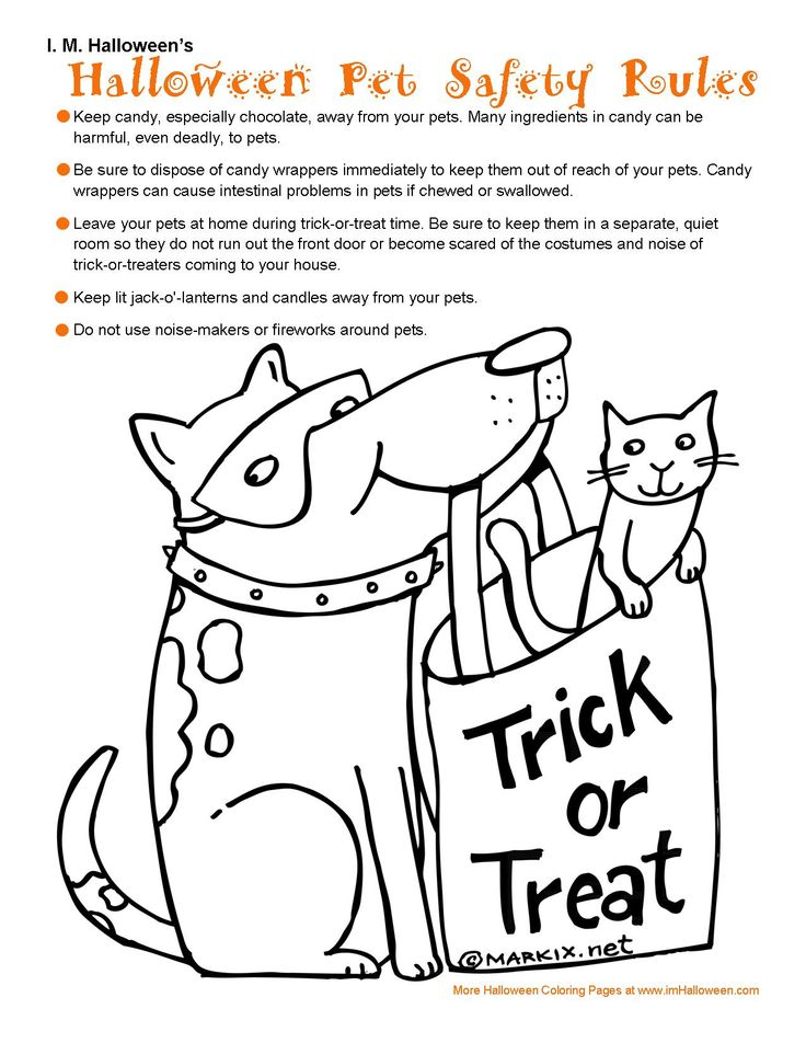 Halloween Pet Safety Coloring Page More For At ImHalloween