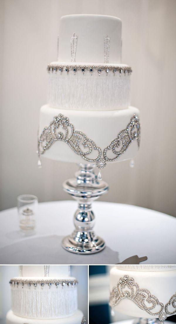 Silver Art Deco Wedding Cake
