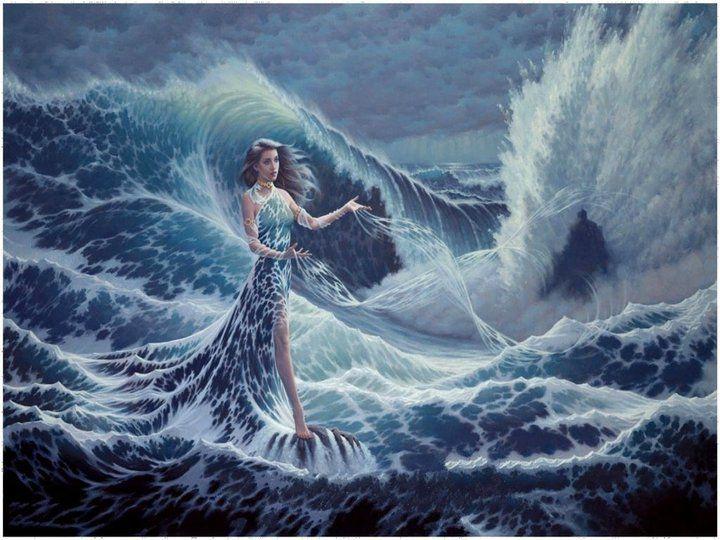 """Yemaya -  Yemayá vive y reina en los mares y los lagos. Ella también domina la maternidad en nuestras vidas y es la Madre de Todos. Su nombre, una versión corta de Yeye Omo Eja significa """"La Madre cuyos Hijos son los Peces"""", nombre que refleja el hecho de que sus hijos son innumerables. Toda la vida comenzó en el mar, el liquido amniótico dentro del vientre de la madre es una representación del mar, donde el embrión se debe transformar y evolucionar."""