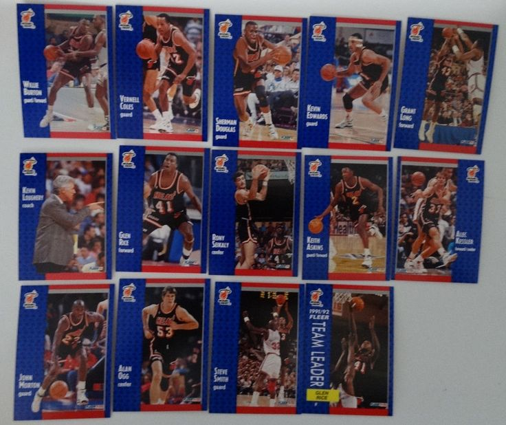 1991-92 Fleer Miami Heat Team Set Of 14 Basketball Cards #MiamiHeat