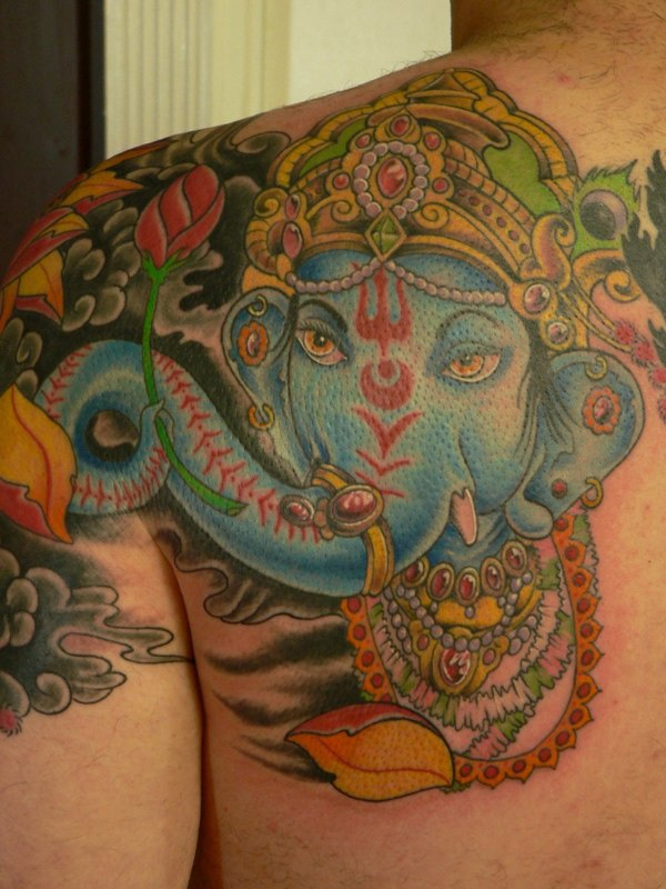 Full color Ganesh tattoo.... the front of my chest