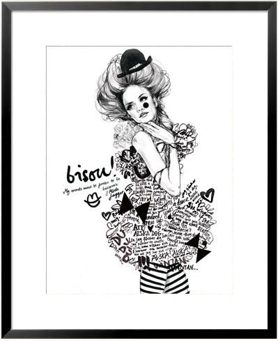 'Bisou!'. Giclée Konsttryck av Lina Ekstrand