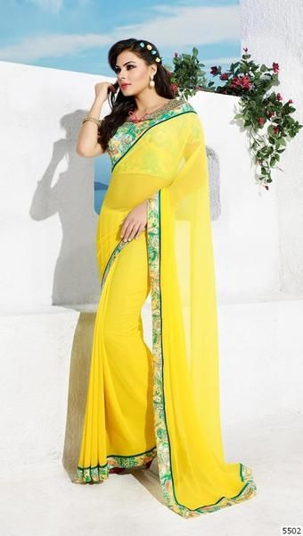 LadyIndia.com #abstract_print Sarees, Yellow Partywear Georgette Printed Sarees with Blouse Piece, abstract_print Sarees, https://ladyindia.com/collections/ethnic-wear/products/yellow-partywear-georgette-printed-saree-with-blouse-piece