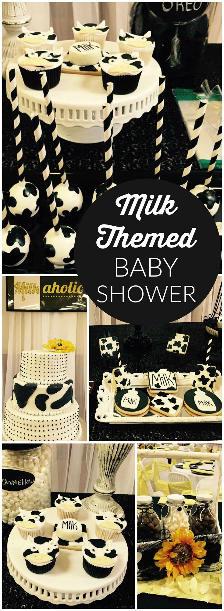 You have to see this milkaholic baby shower with lots of cow print! See more party ideas at CatchMyParty.com!