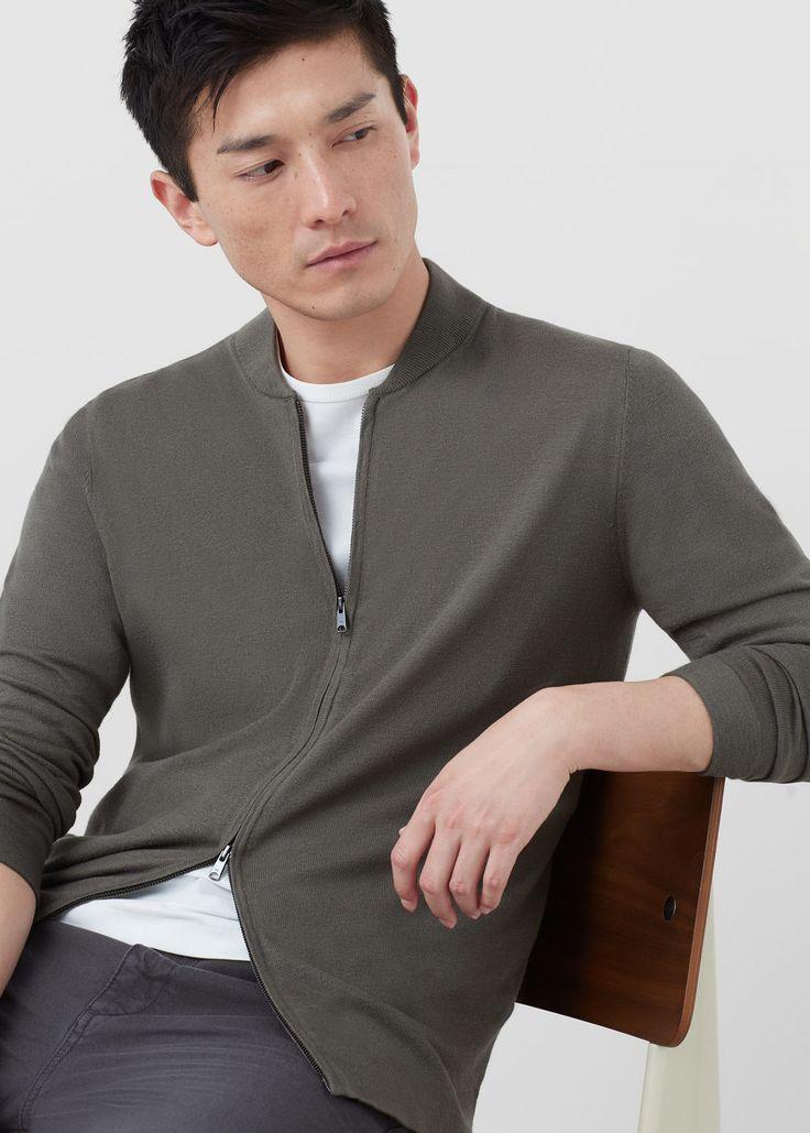 Cotton silk-blend cardigan - Sweaters for Men | MANGO Man USA