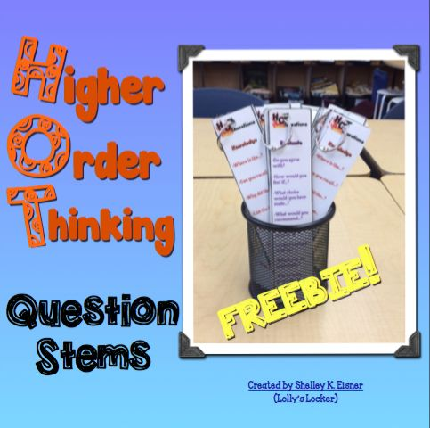 higher order thinking questions The counting hands located on each card tell you what level of thinking or question level it is the easiest way to use these would to laminate and place on a ring.