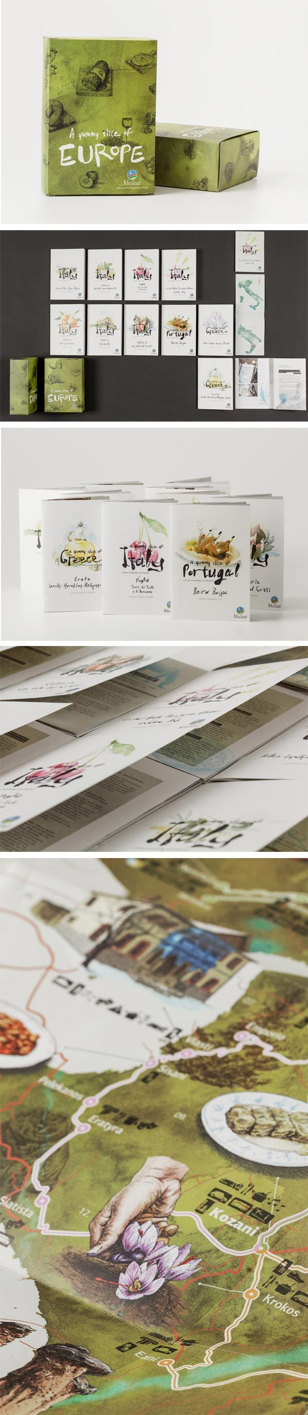 Gastronomy and itinerary maps for MEDeat project  #guides #illustration #maps #leaflet #packaging #exhibition stand