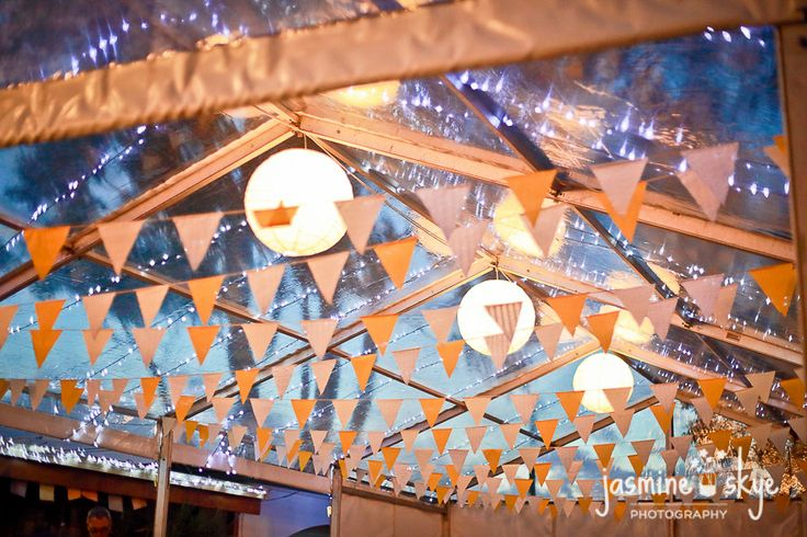 clear marquee wedding decorations. fairy lights, bunting flags and lanterns. perth wedding photography.