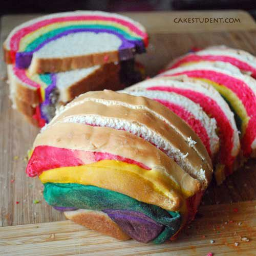 Over the Rainbow Bread - Pretty and Fun at the same time!  This is the St. Patrick's Day bread to serve and make sandwiches with.
