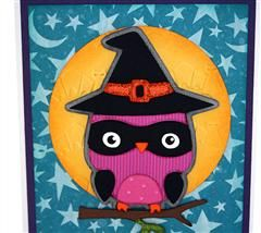 #Cricut Halloween card made using the cute owl witch from Create a Critter 2.  I have more info on my blog at http://allscrappedout.com