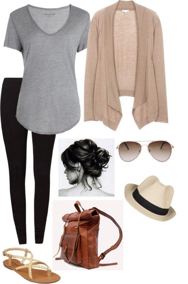 Fine drape cardigan, loose tee shirt, leggings, braided sandals, straw fedora, aviator sunglasses