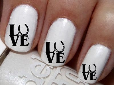 "#SALE #NAILS #COUPON Code ""PINTEREST""  Saves You 15% Off  50 pc Horse Shoe Love  Nail Decals Nail Art Nail Stickers Best Price NC1108"