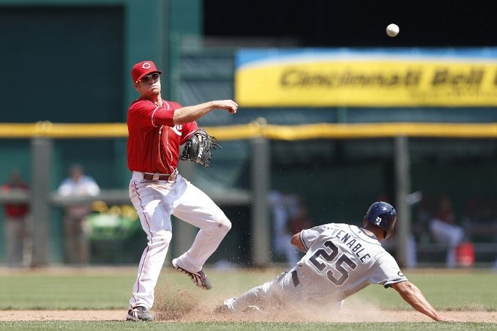Game #108 8/2/12: Zack Cozart #2 of the Cincinnati Reds throws to first on a double play attempt against Will Venable #25 of the San Diego Padres at Great American Ball Park on August 2, 2012 in Cincinnati, Ohio. The Reds won 9-4. (Photo by Joe Robbins/Getty Images)Ballplayer, Red Won, Red Throw,  Baseball Players, Cincinnati Reds, San Diego Padres