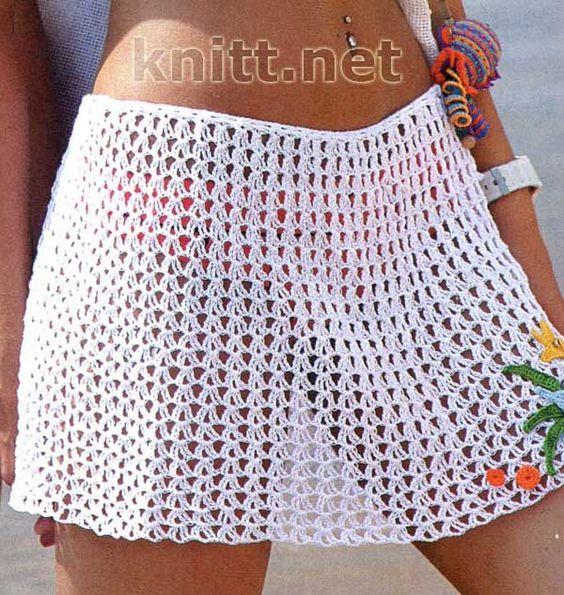 Пляжная юбка с аппликацией. Вязанные модели для пляжа с каждым годом становятся все популярнее. Пляжная юбка это важный эксклюзивный аксессуар для модницы.