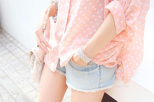 pretty in pink polka dots: Pink Polka Dots, Summer Vacations, Clothing, Denim Fashion, Pastel Pink, Korean Fashion, Pastel Fashion, Girly Girls, Pastel Color