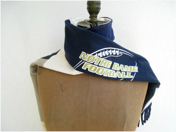 NEW...Notre Dame Football T Shirt Scarf / Navy Blue Cream by ohzie