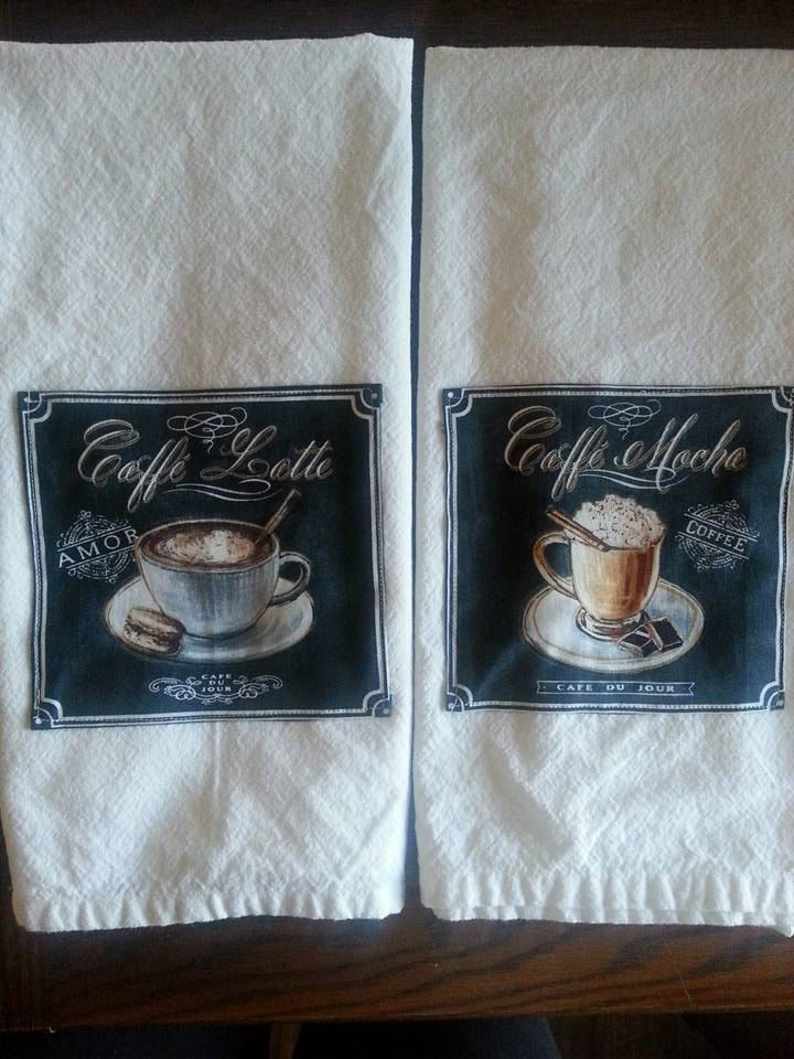 Handmade Set of 2 Coffee Theme Cotton Cream Color Farmhouse Style Flour Sack Kitchen Dish Tea Towels by TheSchmidtHouseFinds on Etsy