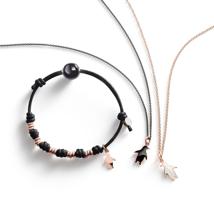 Wear your crazy heart on your sleeve with Dodo black & white penguin charms in rose gold