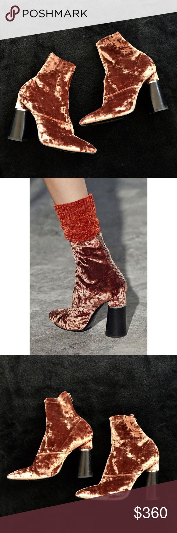 3.1 Phillip Lim Crushed Velvet Boots, 9.5 RARE COLOR worn during the runway shows and only sold at selected boutiques. Purchased full price by me and only worn 3 times. Still in excellent condition. An incredible pair of boots!!!!   Color changes depending on the way the light is hitting it. Goes from a dark saffron to a more pale pinkish-orange.  Size 9.5. Fits true. 3.1 Phillip Lim Shoes Ankle Boots & Booties