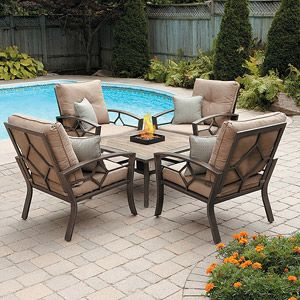 5 Pc Patio Conversation Set With Firepit Garden Yard Lawn Lounge Deck  Furniture