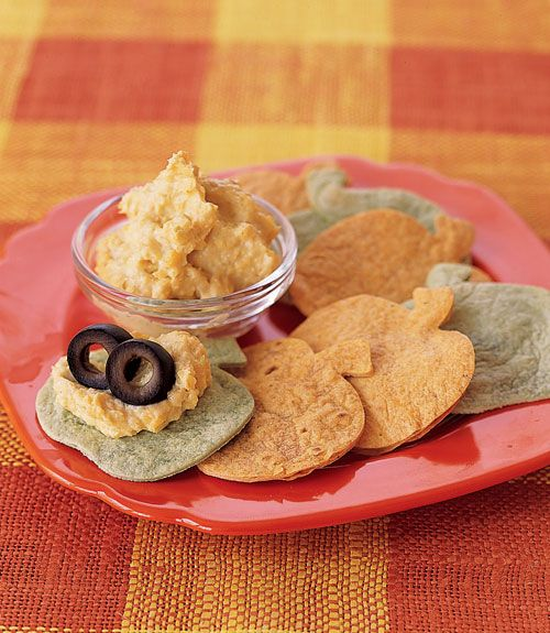 "Eyeball Mash: This quick and easy dip is a tasty appetizer for an adults-only Halloween bash, or for a group of grown-ups in charge of entertaining younger trick-or-treaters. ""Pumpkin"" Tortilla Chips: It takes only seconds to cut tortillas into festive pumpkin shapes, sprucing up your Halloween party spread times 10.  - GoodHousekeeping.com"
