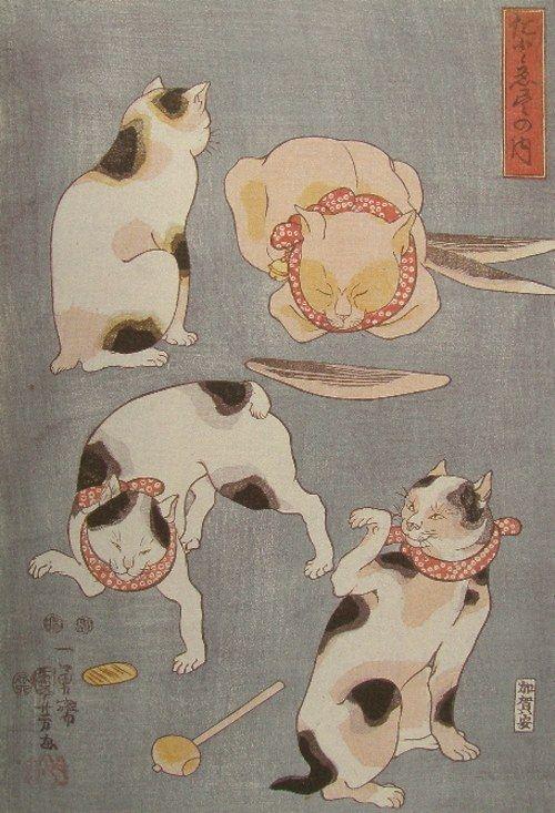 Proverbs Illustrated by Cats - Kuniyoshi  たとえ尽の内・右図