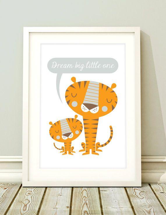 Boys nursery tiger art Giclee print Dream Big by BubbleGumYears, £10.49