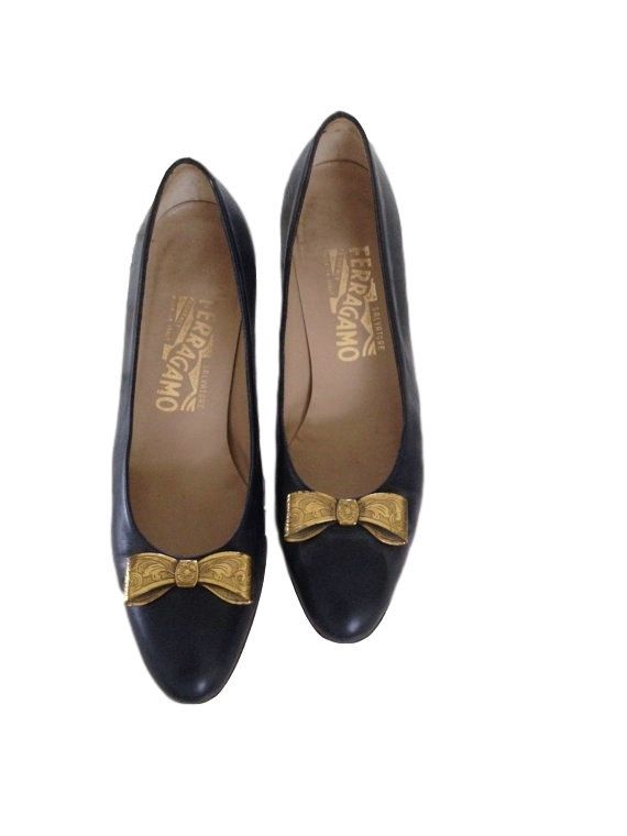 Salvatore Ferragamo Navy Blue Heels with Gold Bows by LaCroisette