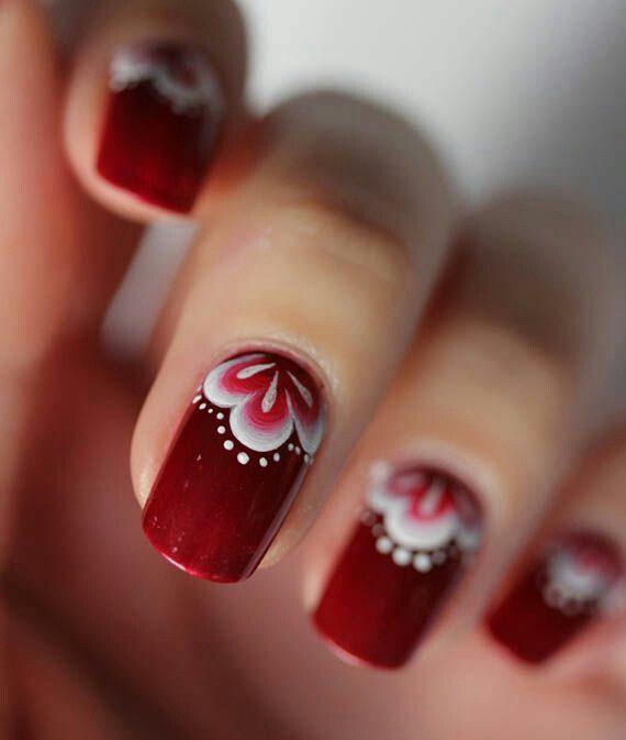 Red..White Nail Art ❤